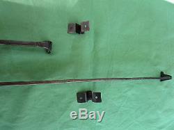 2 targettes ouvragées fer forgé longues 57 & 26,5 cm porte double placard ancien