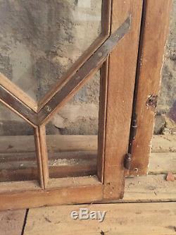 2 très rares fenêtres en chêne complètes avec bâti 91.5 x 154