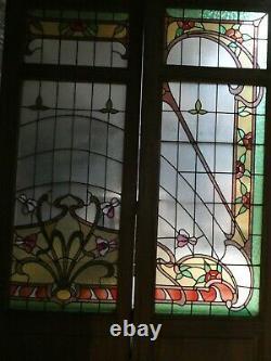 3 Grandes Portes En Vitrail Vitraux Art Nouveau Epoque 1900