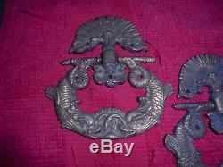 3 anciennes Superbes Poignées Anneau Bronze Dauphin Tiroir Meuble Coffre Malle