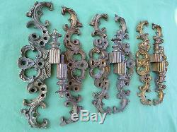3 moustaches charnières exceptionnelle laiton doré meuble portes ht 25 cm ancien