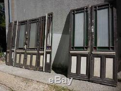 4 M Ancien ensemble de portes et ouvrant d'entrée en chêne, façade vitré
