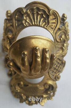 4 Réceptacles Angles de BILLARD ancien bronze laiton main d' enfant J 1349-1492