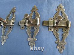 4 Targettes ouvragées & gravée fer forgé ancienne portes hauteur 16,6 cm largeur