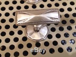 4 anciens boutons en Argent poignées de meuble commode art déco vintage
