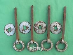 4 anneaux rosaces fer forgé peint gris ancien portes meuble diamètre 7,1 cm