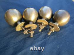 4 boules laiton Décoration meuble lit rampe pilastre escalier. Ht 9,5 cm