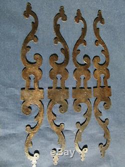 4 entrées serrure fer ancienne Epoque Louis XV portes meuble Enfilade ht 24,5 cm
