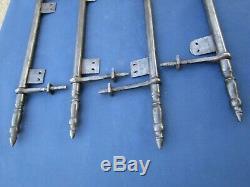 4 fiches à lacets fer forgé turlupée Louis XVI ancien haut 42 à 43 cm portes