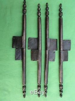 4 grandes fiches à larder complètes fer forgé ancienne Louis XIV ht 43 à 45 cm