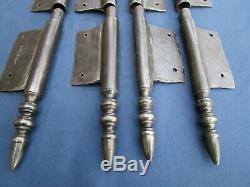 4 grosses fiches à larder fer forgé turlupée Louis XVI ancien haut 32 cm portes