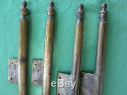 4 longues fiches à larder déportées laiton ancienne hauteur 41 à 42 cm porte