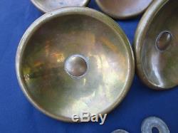 4 poignées rondes laiton porte verre magasin vitrine ancienne diamètre 11 cm