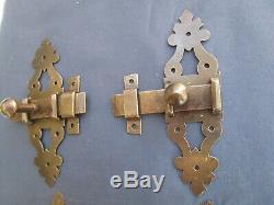 4 targettes fer forgé ouvragée porte placard volet ancien hauteur 15 & 5,8 cm