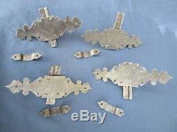 4 targettes fer forgé ouvragée porte placard volet ancien hauteur 15,5 cm