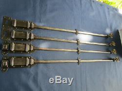 4 targettes longues portes Hausmanienne ancienne fer fonte boutons laiton 70 cm