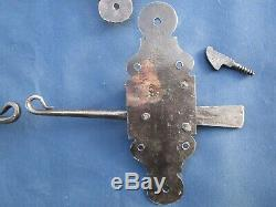 4 targettes ressort fer forgé portes volets ancien Hauteur 16 cm droite gauche