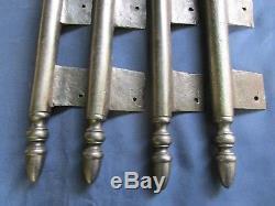 4 très grosses fiches à larder fer forgé turlupée Louis XVI ancien H 50 cm porte