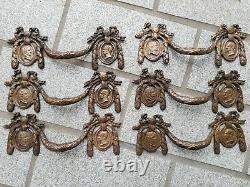 6 ANCIENNES POIGNÉES DE MEUBLE, TIROIR, COMMODE, LOUIS XVI, bronze ou laiton