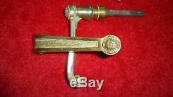 6 ancienne poignées bronze F. T porte serrure déco maison maître poignée