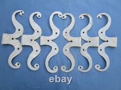 6 moustaches fer forgé ancienne ferrures portes placards Hauteur 24,1 à 25,6 cm
