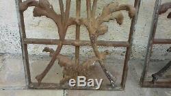74.5cm/24.5cm Paire d' Anciennes grilles de porte ou fenêtre en fonte