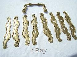 8 Anciennes Plaques de Propreté en Bronze pour Porte intérieur + une Poignée