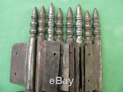 8 fiches à larder complètes fer forgé anciennes modèle Louis XVI ht 31,5 à 33 cm