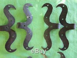 8 moustaches fer forgé ancienne ferrures porte hauteur 17 & 21,2 cm