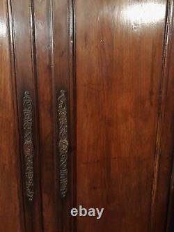 ANCIENNES GRANDES paire PORTES D'ARMOIRE AVEC BTI en châtaignier façade placard