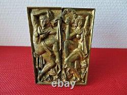 ANCIENNES POIGNEES de porte en bronze doré. Art déco MAURICE JALLOT