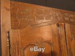 ANCIENNES PORTES D'ARMOIRE BRETONNE AVEC BATI châtaignier brute façade placard