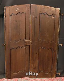 ANCIENNE PAIRE DE PORTES D'ARMOIRE CHATAIGNIER ET MERISIER avec fiches placard