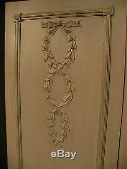 ANCIENNE PAIRE DE PORTES D'ARMOIRE LOUIS XVI bois patiné rubans croisés boiserie