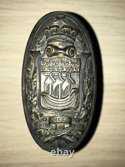 ANCIENNE POIGNEE DE PORTE EN BRONZE armoiries de paris