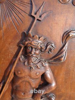 ANCIENNE PORTE NOYER scuptée neptune mythologie cheval siréne ocean dieux