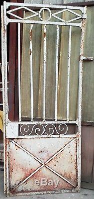 ANCIEN PORTAIL, DEUX VANTEAUX, FRONTON, FER FORGE PLEIN/L 200 cm H 334 cm