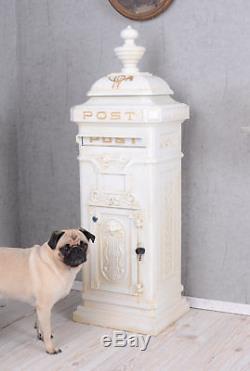 Aluminium Stand Boîte aux lettres Gründerzeit ANTIQUE briefbox Post Blanc Neuf