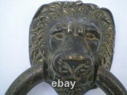 Ancien Beau Heurtoir De Porte Tete De Lion En Bronze Gros Anneau Maison