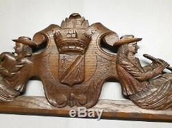 Ancien FRONTON Breton en bois de meuble boiserie long 102 cm
