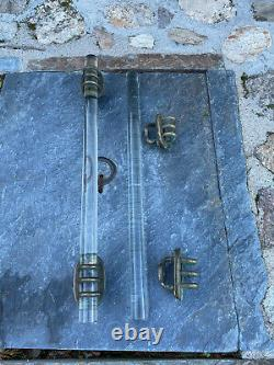 Ancien Grand Tirant De Porte En Verre Et Bronze Modéle Rare