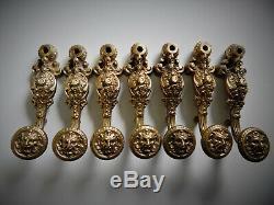 Ancien Lot 7 Poignées Espagnolette Bronze Doré Bacchus, Satyre, Lion, Cremone, Art