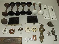 Ancien Lot de 15 Porcelaine Porte Boutons et Hardware Neuf Angleterre Domestique