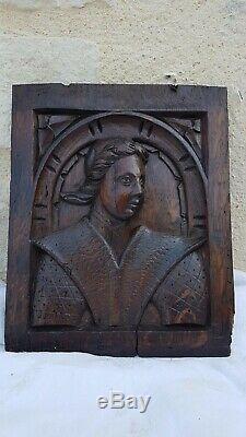 Ancien Panneau En Chêne Sculpté De La Fin Du 16ème, Début 17ème, Renaissance