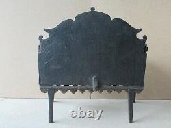 Ancien berceau grille porte bûches de cheminée en fonte, à réflecteur amovible