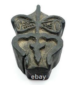 Ancien bloc à imprimer Trident de Shiva Trishula Népal XIXe