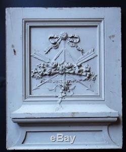 Ancien élément de boiserie sculpté à décor de fleurs style LOUIS XVI 68,5x56,5cm