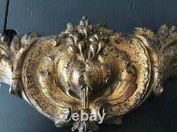 Ancien fronton de porte en bronze doré 19eme siècle