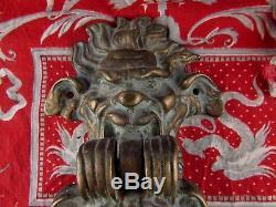Ancien gros heurtoir anneau de porte decor angelots bacchus bronze epoque XIXe