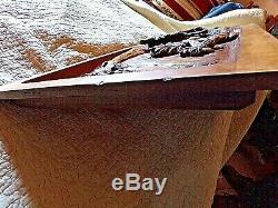 Ancien panneau de porte de meuble en bois sculpté-chasse au cerf -carved wood-